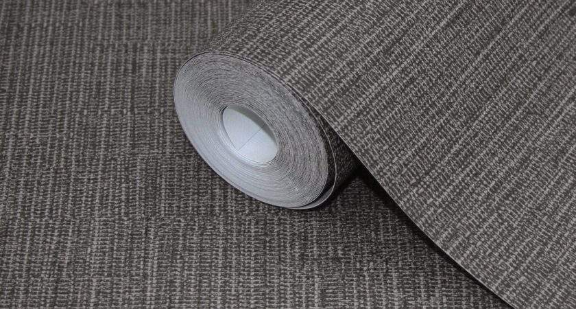 Lutece Plain Black Taupe Fabric Tweed Effect