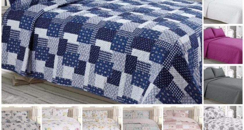 Luxury Quilted Bedspread Throws Pillowcases Double