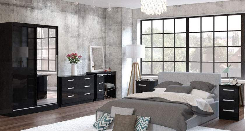 Lynx Black High Gloss Bedroom Furniture Sales