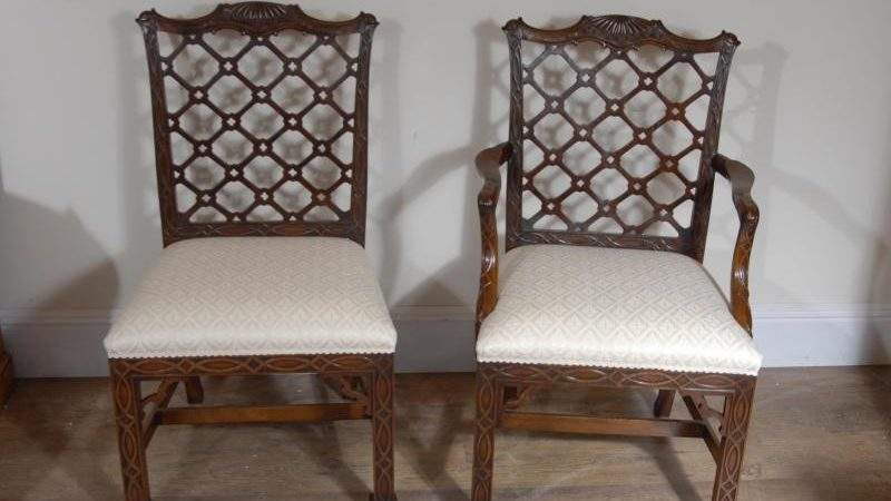 Mahogany Gothic Chippendale Dining Chairs Diners Ebay
