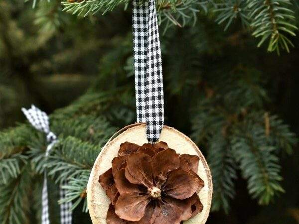 Make Simple Rustic Birch Pine Cone Christmas