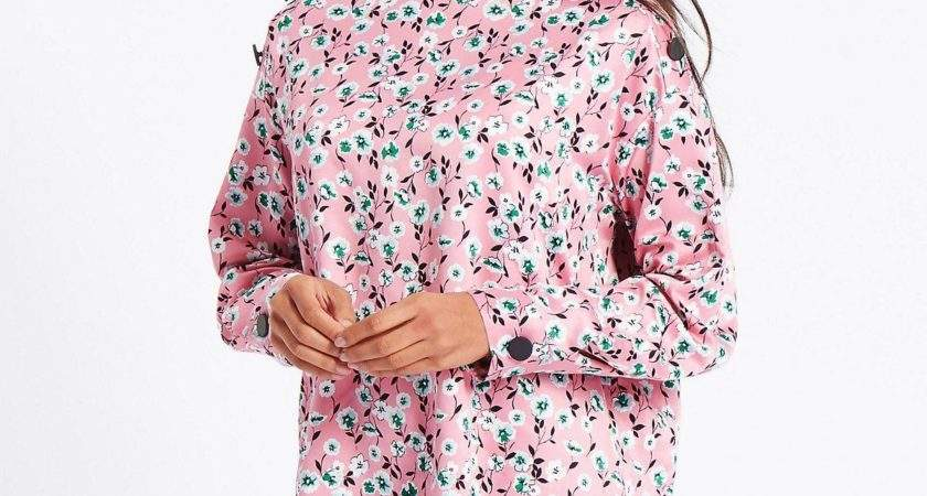 Marks Spencer Floral Print Button Detail Blouse Lyst