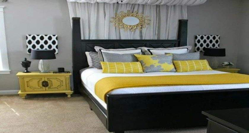 Master Bedroom Bedding Yellow Gray Decorating