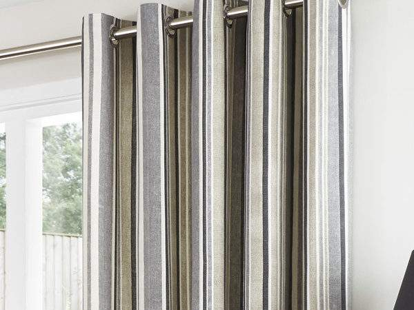 Melrose Stripe Charcoal Eyelet Curtains