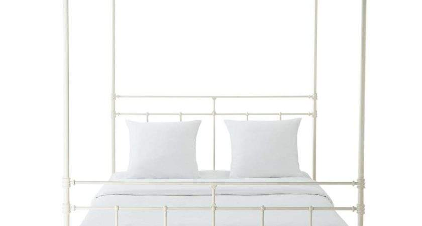 Metal King Four Poster Bed White