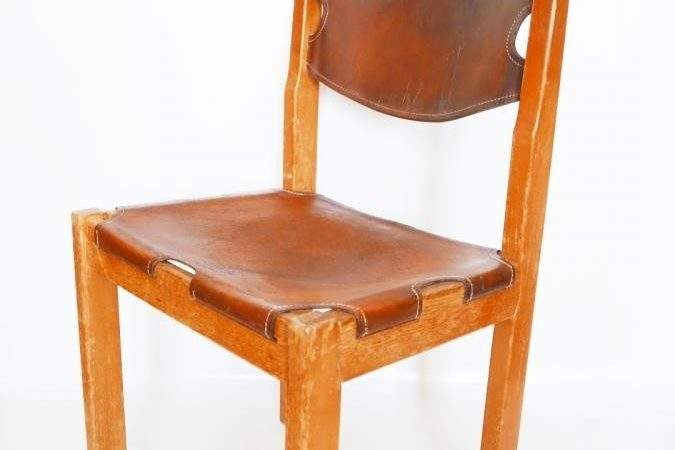 Mid Century Camel Colored Leather Dining Chairs