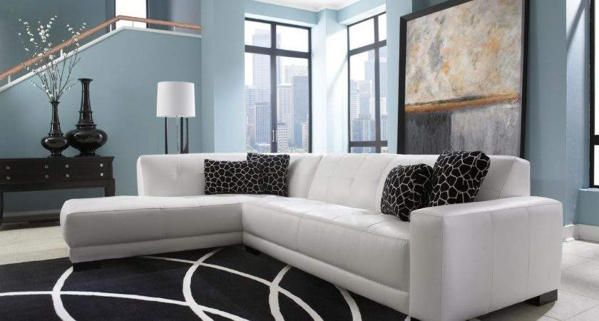 Mid Century White Leather Tufted Sectional Chaise Lounge