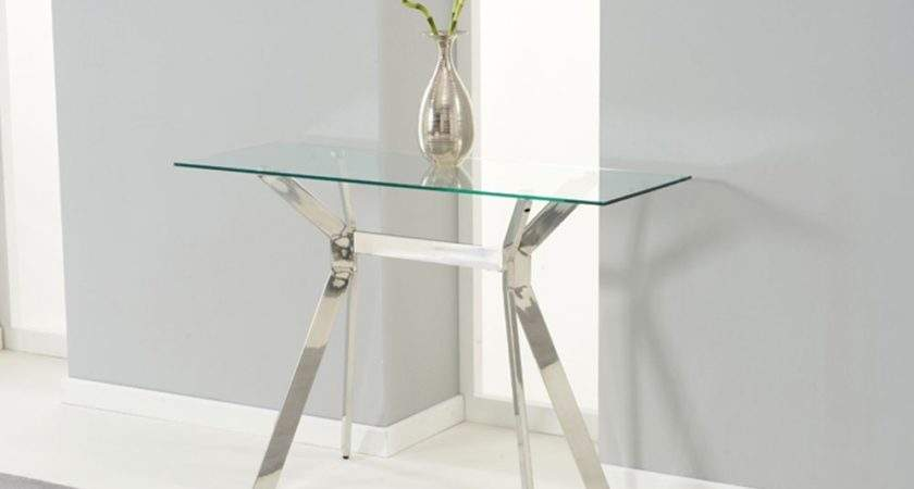 Mode Steel Glass Console Table Oak Furniture Solutions