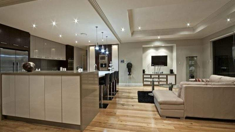 Modern Kitchen Living Design Using Floorboards