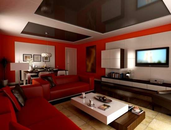 Modern Living Room Red Color Furniture