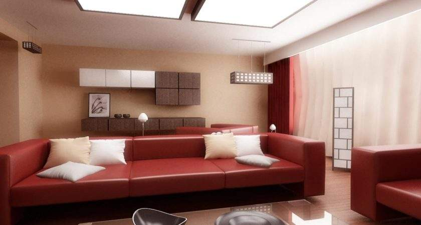 Modern Living Rooms Design Red Couch Sofa