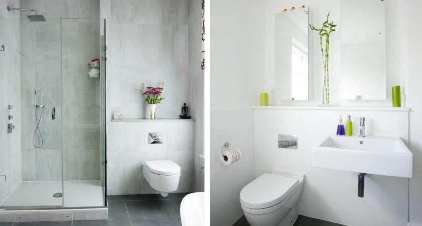 Modern White Interior Bathroom Concrete Wall Glass