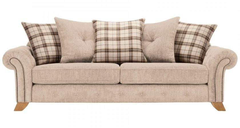 Montana Seater Pillow Back Sofa Beige Tartan Cushions