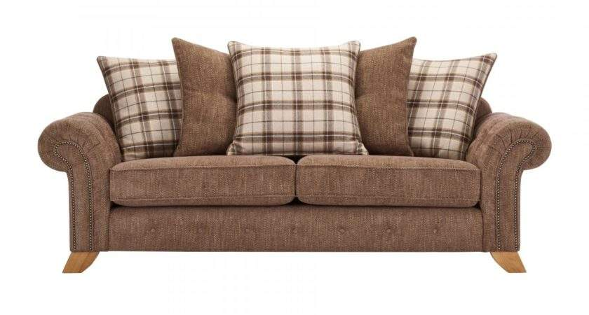 Montana Seater Pillow Back Sofa Brown Tartan Cushions