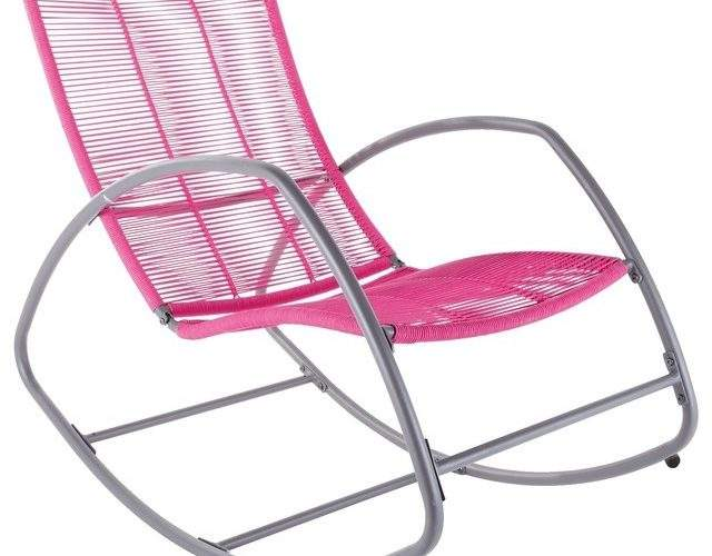 Moretta Metal Pink Rocking Chair Contemporary Outdoor