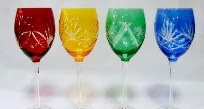Multi Color Red Wine Glasses Engraved Cutting Amber
