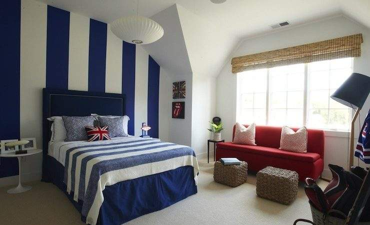 Navy Accent Wall Contemporary Bedroom One Fine Stay