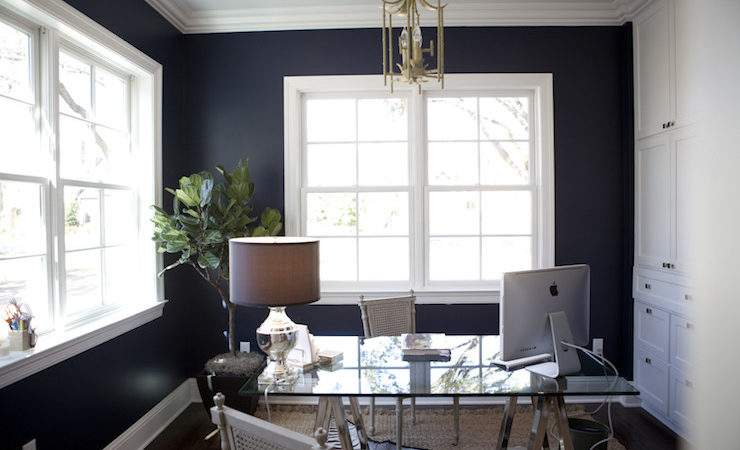 Navy Blue Office Transitional Den Library