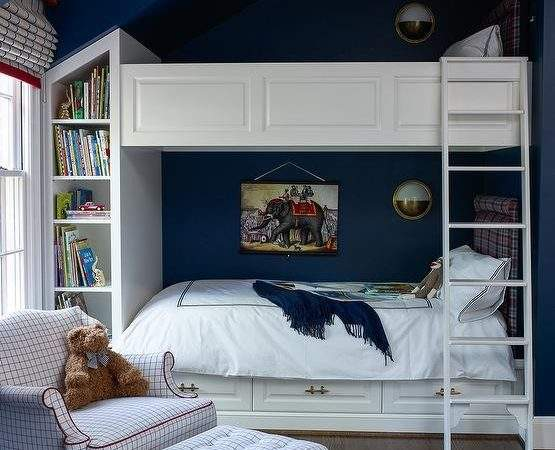 Navy Boys Bedroom Wainscoted Bunk Beds Transitional