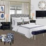 Navy White Gray Transitional Master Bedroom Room