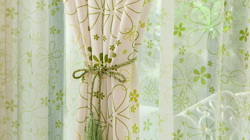 Neat Light Green Country Floral Window Curtains
