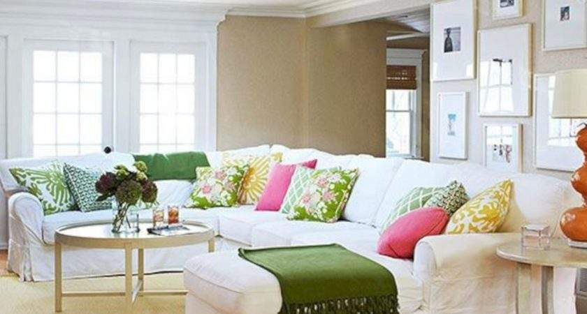 Neutral Living Room Couches Colorful Pillow Decoor