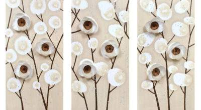 Neutral Wall Art Orchid Painting Triptych Canvas