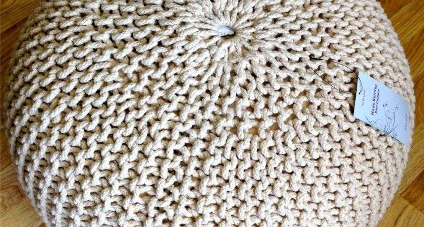 New Contemporary Chunky Knit Knitted Pouffe Foot Stool