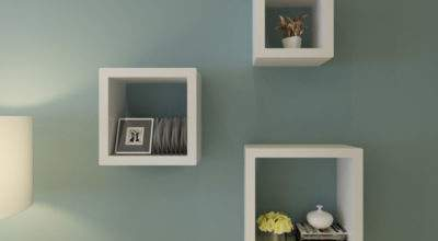 New Set White Square Floating Cube Wall Storage