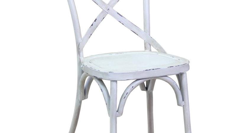New Vintage French Provincial Style White Cross Back Steel
