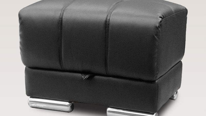 Newham Black Leather Ottoman Footstool Pouffe Storage