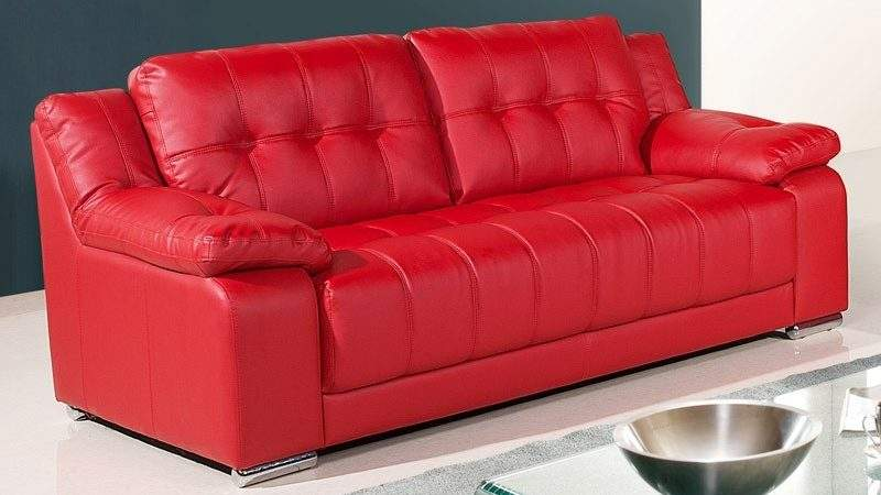 Newham Vibrant Red Leather Sofa Collection