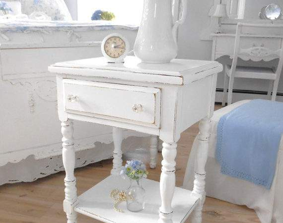 Night Table End Shabby Chic White Painted Furniture