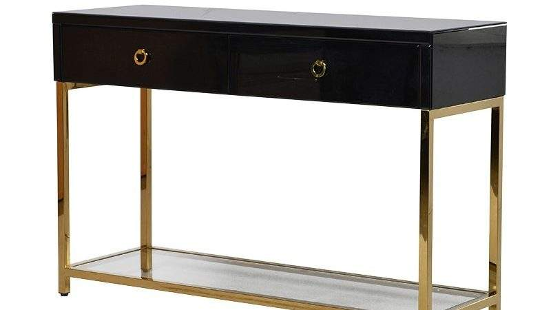 Nightingale Black Gold Glass Console Table