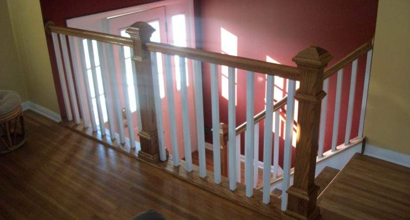 Oak Interior Stair Case Railing Designs White Baluster