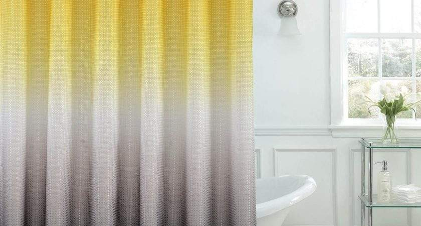 Ombre Waffle Weave Yellow Grey Shower