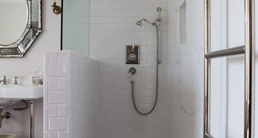 Open Walk Shower Subway Tiles Glass Partition Towel