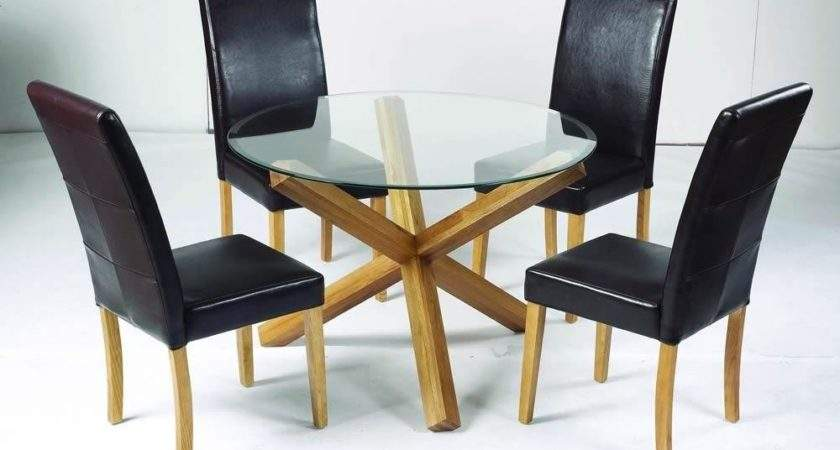 Oporto Solid Oak Legs Glass Top Round Dining Table
