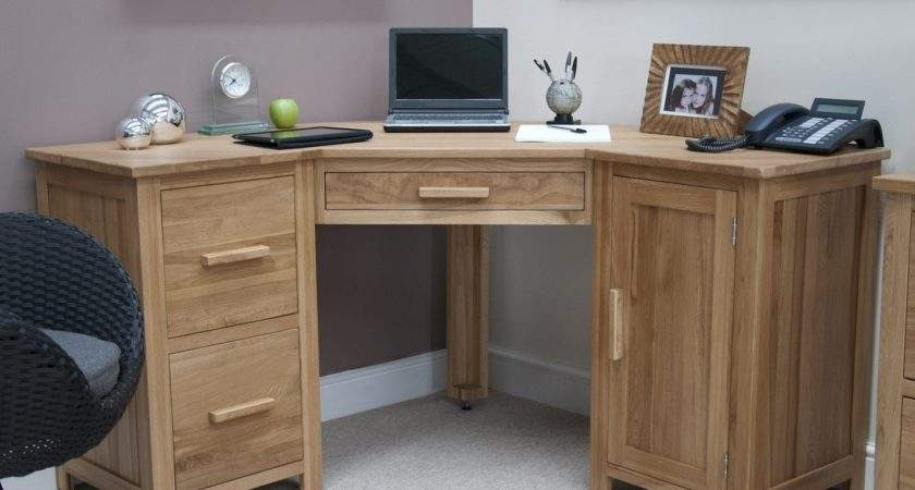 Opus Solid Oak Large Corner Computer Desk Furniture