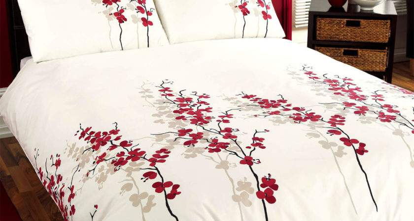 Oriental Bedding Floral Luxury Red Cream Duvet Cover Bed