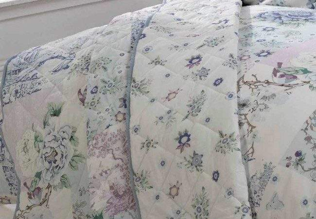 Oriental Floral Blue Duvet Cover Throwover Bedding Set
