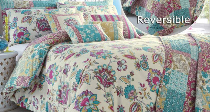 Oriental Jacobean Floral Duvet Cover Set Reversible