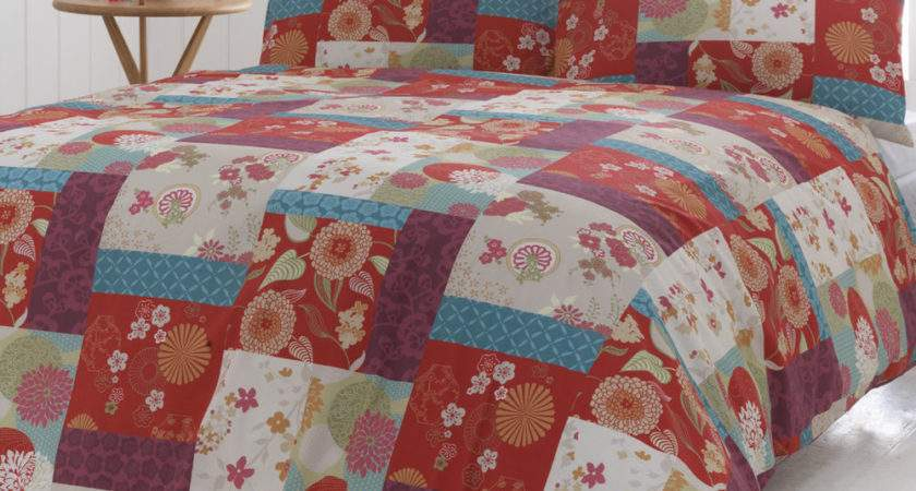 Oriental Patchwork Quilt Duvet Cover Pillowcase Bedding