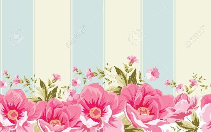 Ornate Pink Flower Border Tile Elegant Vintage