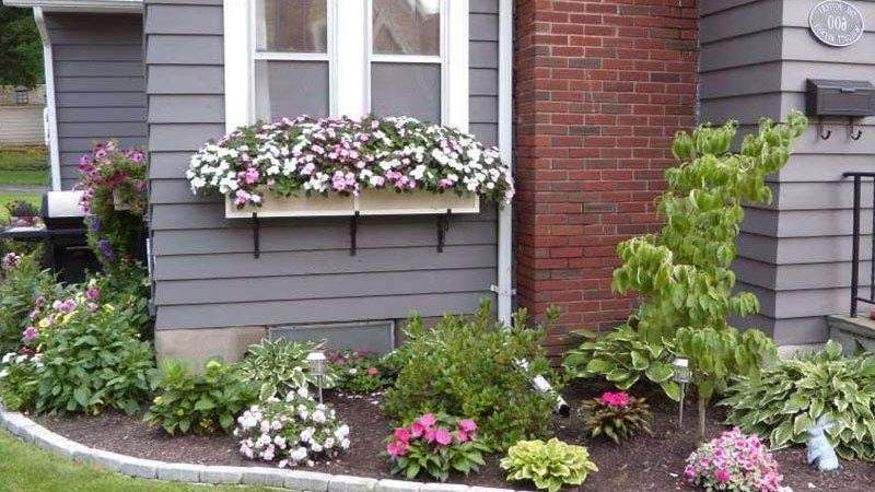 Outdoor Flower Beds Front House Amusing Green