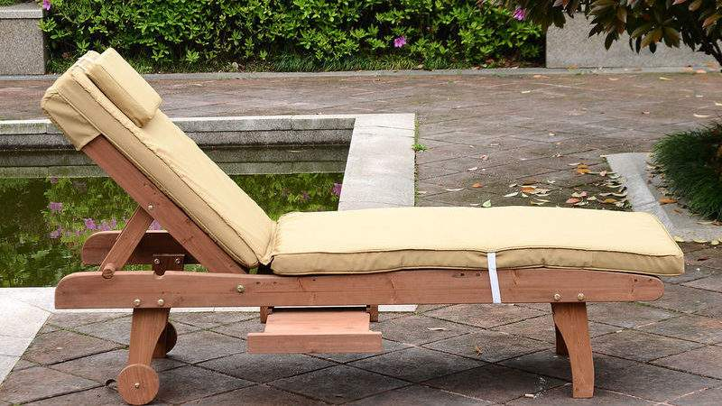 Outsunny Wooden Sun Lounger Cushion Sunbed Patio Recliner