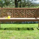 Oxford Cross Weave Back Teak Garden Bench