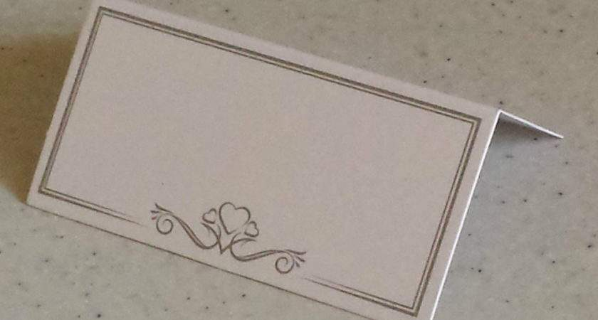 Pack White Place Name Cards Heart Design Party