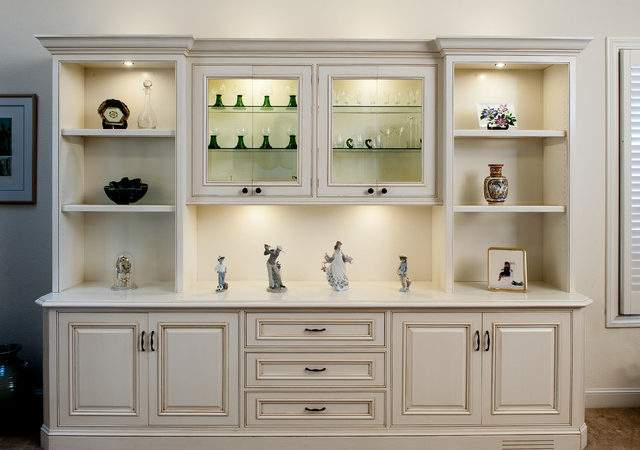 Painted Glazed Display Cabinet Traditional Living