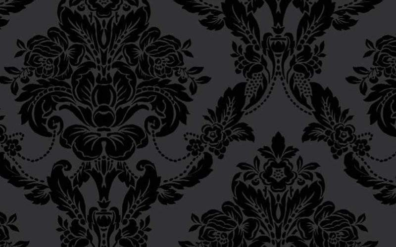 Palais Black Velvet Flock Damask